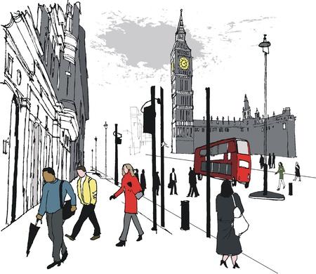 Vector illustratie van voetgangers de buurt van Big Ben, Londen