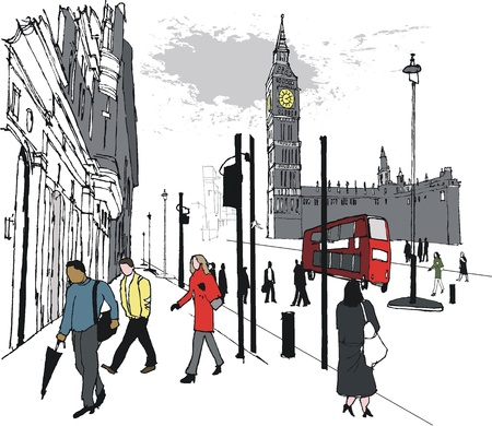 houses of parliament london: Vector illustration of pedestrians near Big Ben, London