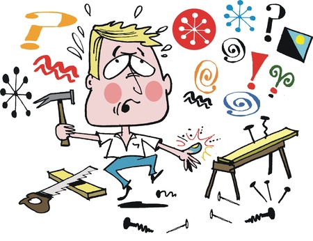 swearing: Vector cartoon of man in home workshop