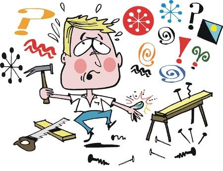 wooden stool: Vector cartoon of man in home workshop