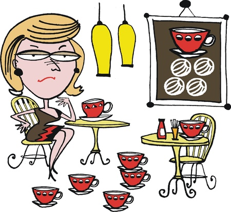 Vector cartoon of woman drinking coffee