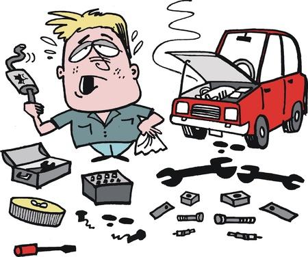 man nuts: cartoon of frustrated motorist fixing car Illustration