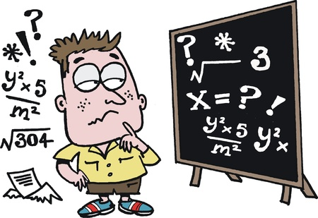 equation:  cartoon of puzzled schoolboy learning maths