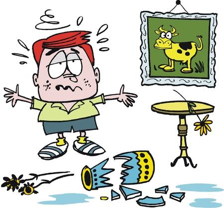 vases: Vector cartoon of upset boy with broken vase