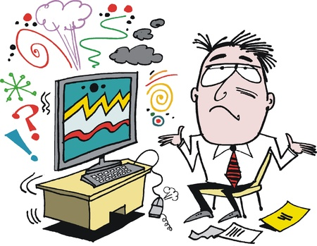 computer office: Vector cartoon of angry man with defective computer