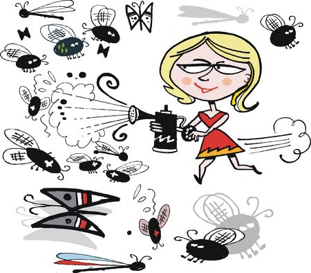 cartoon of determined woman spraying flies Vector