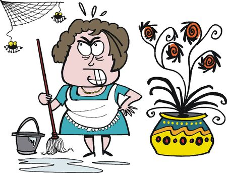cleaning up: cartoon of angry housewife cleaning up