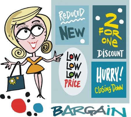 cartoon of smiling woman shopping Stock Vector - 16612709