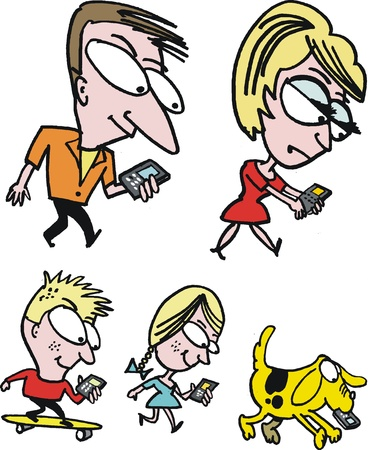 oblivious: cartoon of family using mobile phones