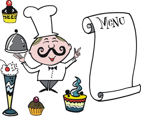 gateau: Vector cartoon of chef with cafe style menu