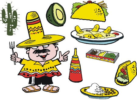 nachos:  cartoon of Mexican with food dishes from Mexico Illustration
