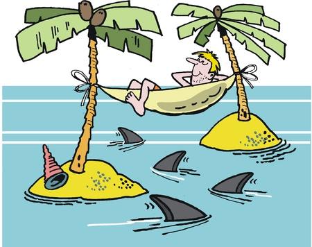siesta: cartone animato di uomo su un'isola tropicale con amaca