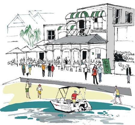 illustratie van schaal-en schelpdieren restaurant
