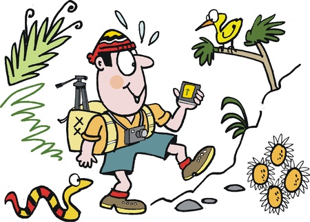 walking trail: Vector cartoon of enthusiastic bushwalker Illustration