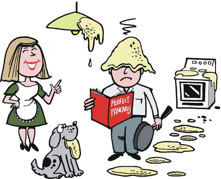 messy house: cartoon of man cooking pancakes in kitchen