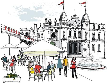 illustratie van mensen in openlucht restaurant Monaco