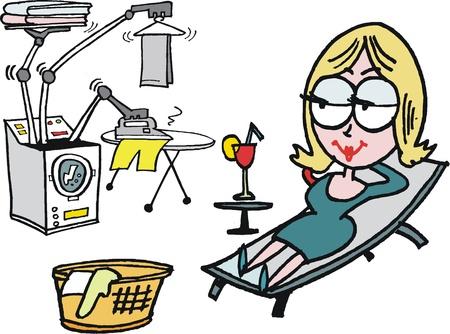 Vector de dibujos animados de la mujer que se relaja mientras que lavar la ropa