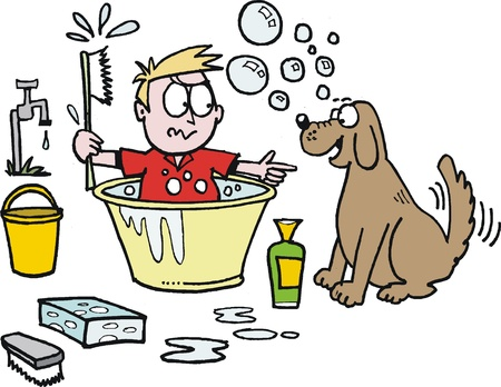 humorous: Vector cartoon of boy trying to give dog bath