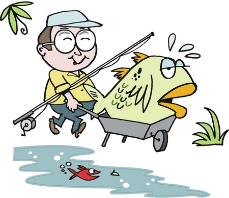 fish: Vector cartoon of happy fisherman with large fish