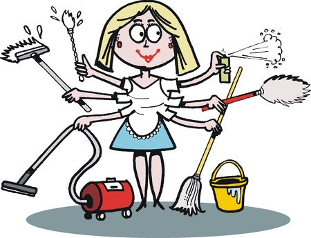 Domestic cleaning:  cartoon of multi-tasking housewife