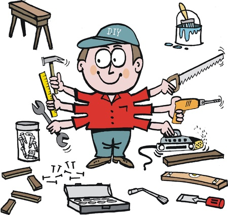 cartoon of handyman with workshop tools