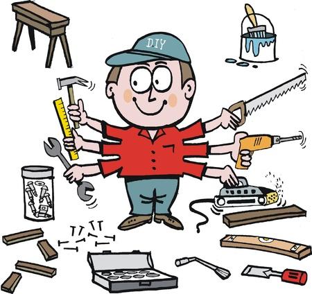 cartoon van klusjesman met workshop gereedschap