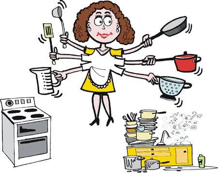 cartoon of multi tasking housewife in kitchen Stock Vector - 17693121
