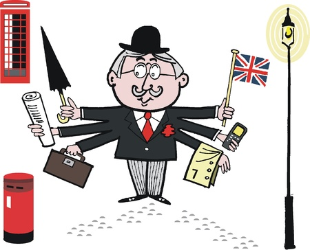 cartoon of English man in bowler hat with flag Vettoriali