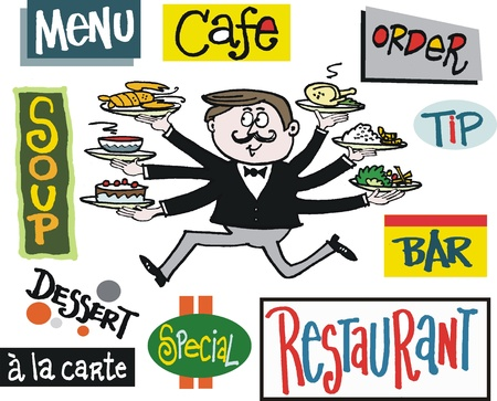 rushing: Vector cartoon of running waiter with cafe signs