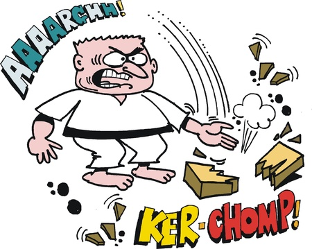 fierce: Vector cartoon of fierce karate man chopping with hand.