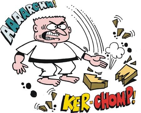 Vector cartoon of fierce karate man chopping with hand. Stock Vector - 17844890