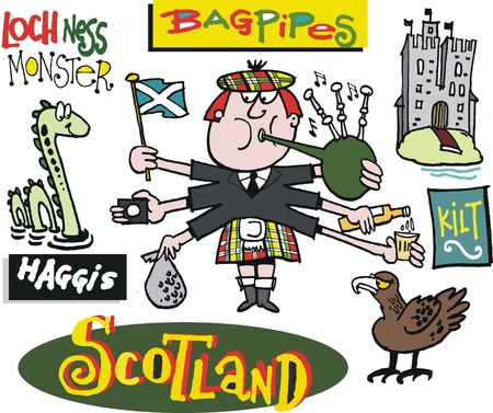 scottish flag: Vector cartoon di scozzese con cornamuse.