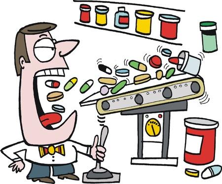 Vector cartoon of man taking vitamin pills Stock Vector - 17844893