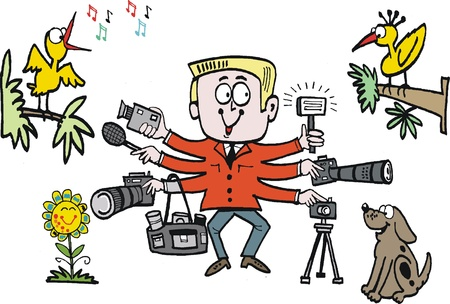 keen: cartoon of keen photographer with cameras