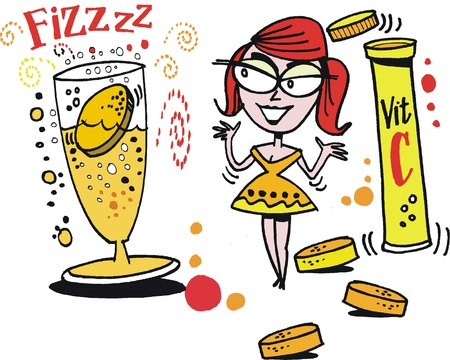effervescent: Vector cartoon of smiling woman with Vitamin C