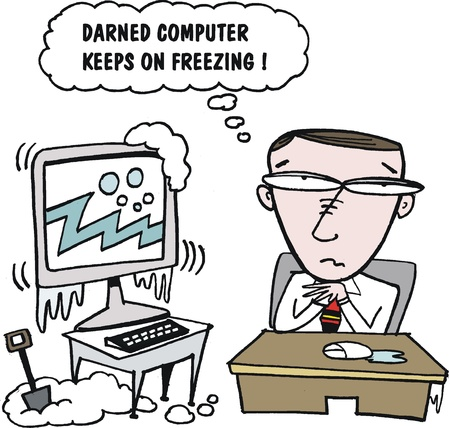 Vector cartoon of man with freezing computer screen Stock Vector - 17993301