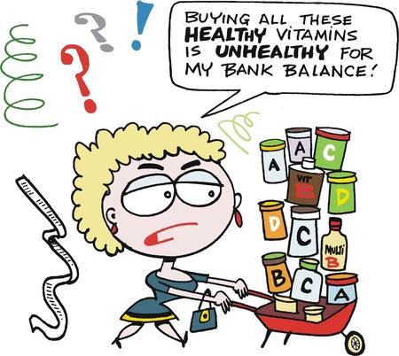 wheeling: cartoon of woman wheeling barrow of vitamins