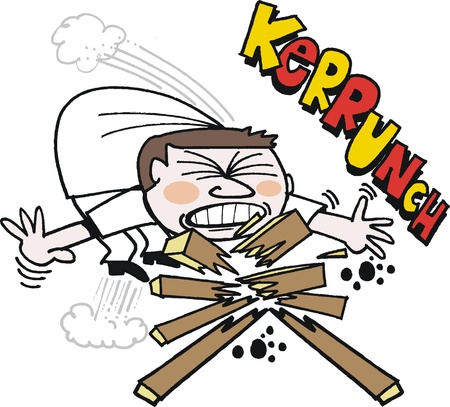menacing: cartoon of karate man breaking wood with chin Illustration