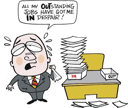 anguished: cartone animato di uomo d'affari oberati di lavoro