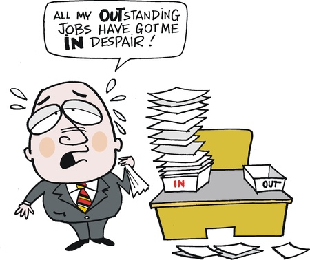 overworked: cartoon of overworked business executive Illustration