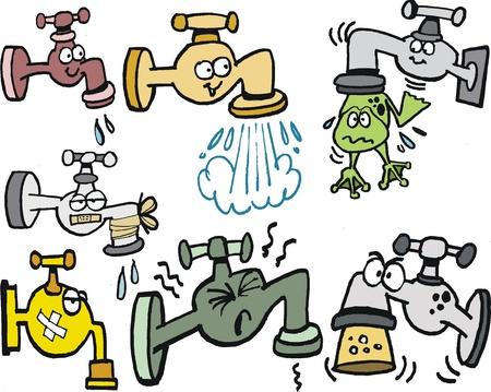 cartoon of group of cartoon taps