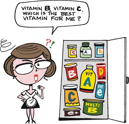 supplements: cartoon of woman with too many vitamin pills