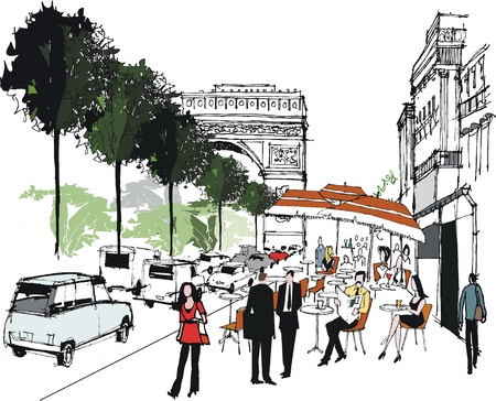 building sketch: Vector illustration of Arc de Triomphe, Paris France Illustration