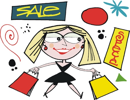 happy shopper: cartoon of happy woman shopper