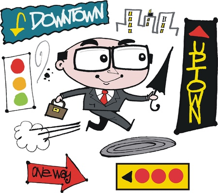 uptown: Vector cartoon of businessman rushing.