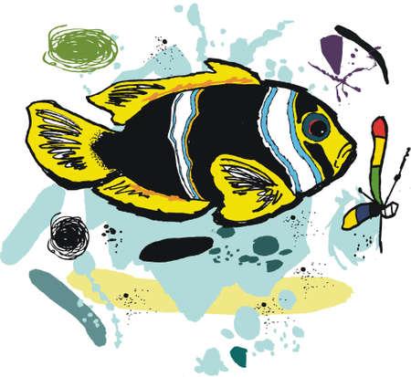 plancton: ilustración de peces anémona Vectores