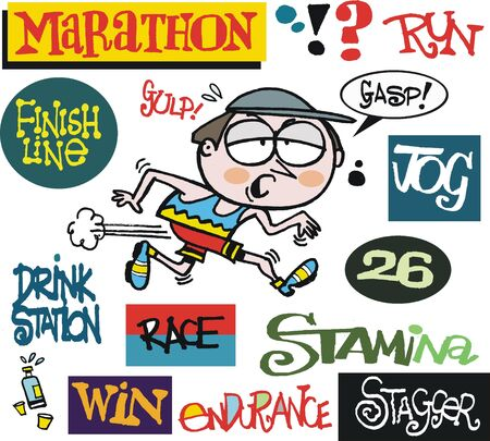 cartoon of tired jogger running race Stock Vector - 18705443