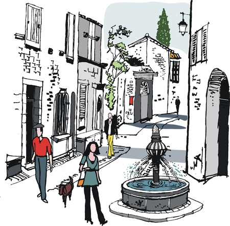 illustration of old village, Provence, France