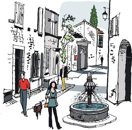 provence: illustration of old village, Provence, France