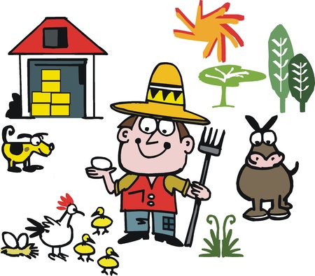 hay bale: Cartoon of farmer with animals